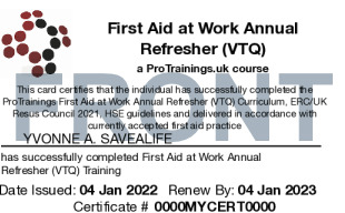 Sample First Aid at Work Annual Refresher (VTQ) Card Front
