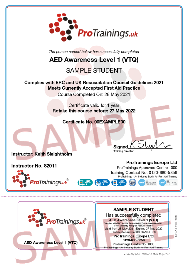 Sample AED Awareness Level 1 (VTQ) Classroom Certificate