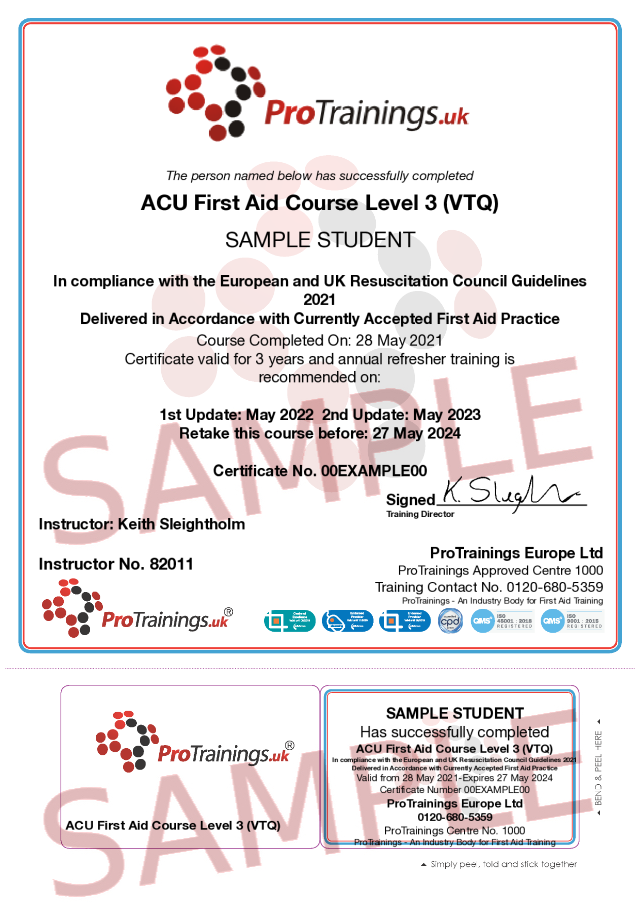 Sample ACU First Aid Course Level 3 (VTQ) Classroom Certificate