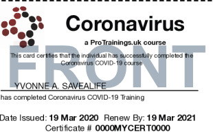 Sample Coronavirus COVID-19 Card Front