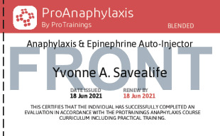 Sample Anaphylaxis & Epinephrine Auto-Injector Card Front