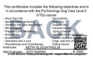 Sample Dog Care Card Back