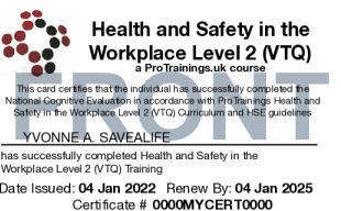 Sample Health and Safety Awareness Level 2 Card Front