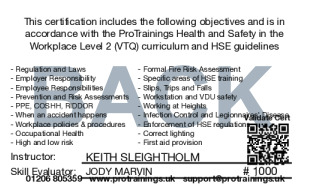 Sample Health and Safety Awareness Level 2 Card Back
