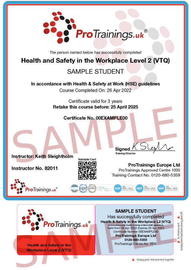 Sample Health and Safety Awareness Level 2 Classroom Certificate