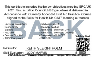 Sample Healthcare CPR/BLS Card Back