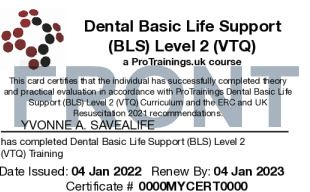 Sample Basic Life Support (BLS) for Dentists Level 2 (VTQ) Card Front