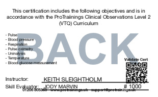 Sample Clinical Observations Level 2 (VTQ) Card Back