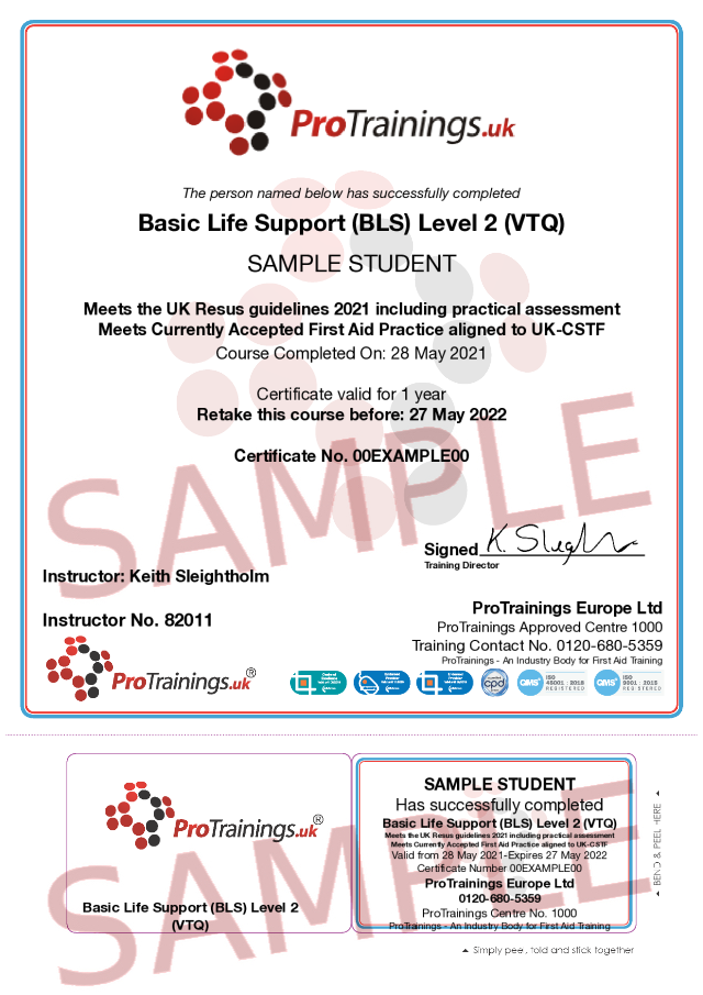 Sample Basic Life Support (BLS) Level 2 (VTQ) - Virtual Practical part Classroom Certificate