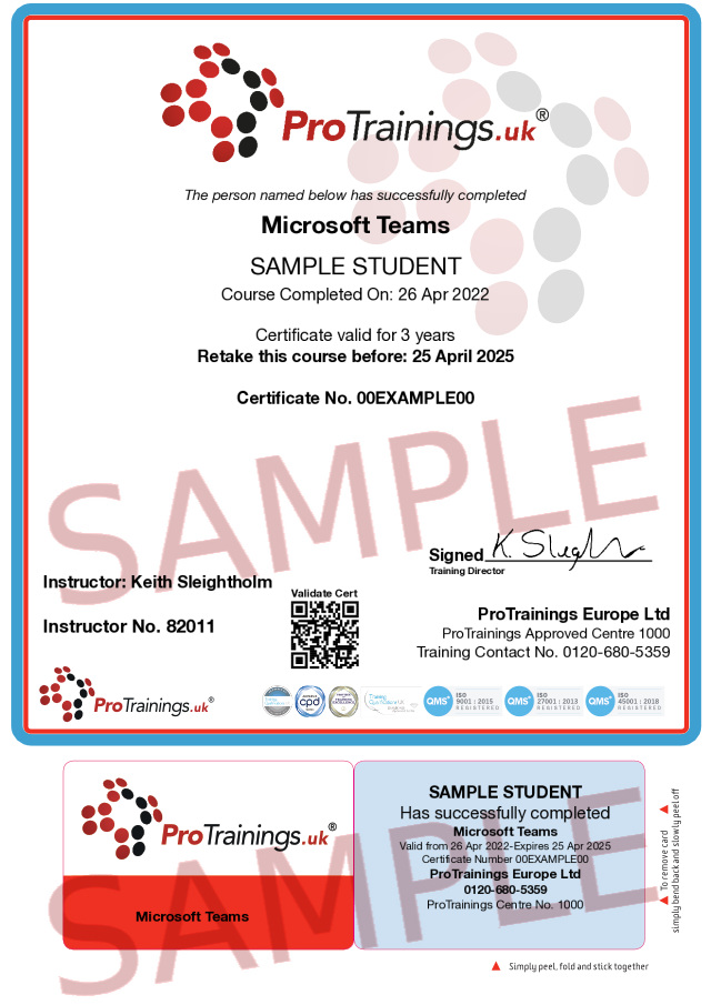Sample Microsoft Teams Classroom Certificate