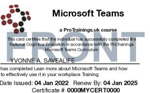 Sample Microsoft Teams Card Front