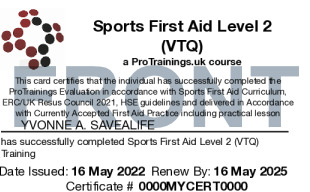 Sample Sports First Aid Card Front