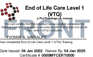 Sample End of Life Care Level 1 (VTQ) Card Front
