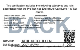 Sample End of Life Care Level 1 (VTQ) Card Back