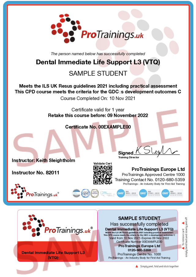 Sample Immediate Life Support for Dentists (ILS) Level 3 (VTQ) Blended Part Two Classroom Certificate