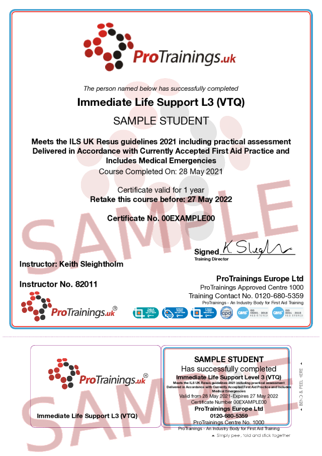 Sample Immediate Life Support (ILS) Level 3 (VTQ) Blended Part Two Classroom Certificate