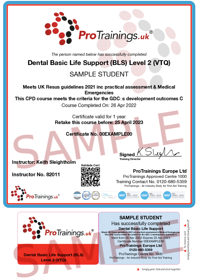 Sample Basic Life Support (BLS) for Dentists Level 2 (VTQ) Classroom Certificate