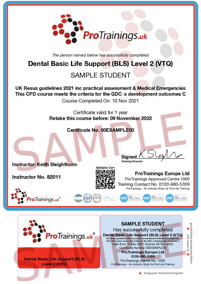 Sample Basic Life Support (BLS) for Dentists Level 2 (VTQ) - Blended part two Classroom Certificate