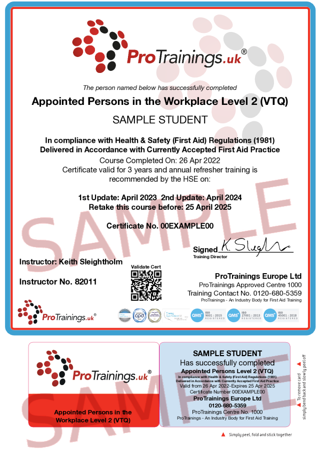 Sample Appointed Persons in the Workplace Level 2 (VTQ) Classroom Certificate