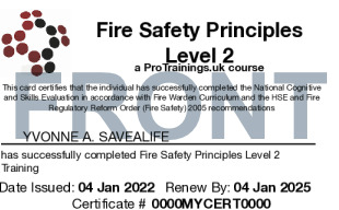 Sample Fire Safety Principles Level 2 (Fire Warden/Marshal) Card Front