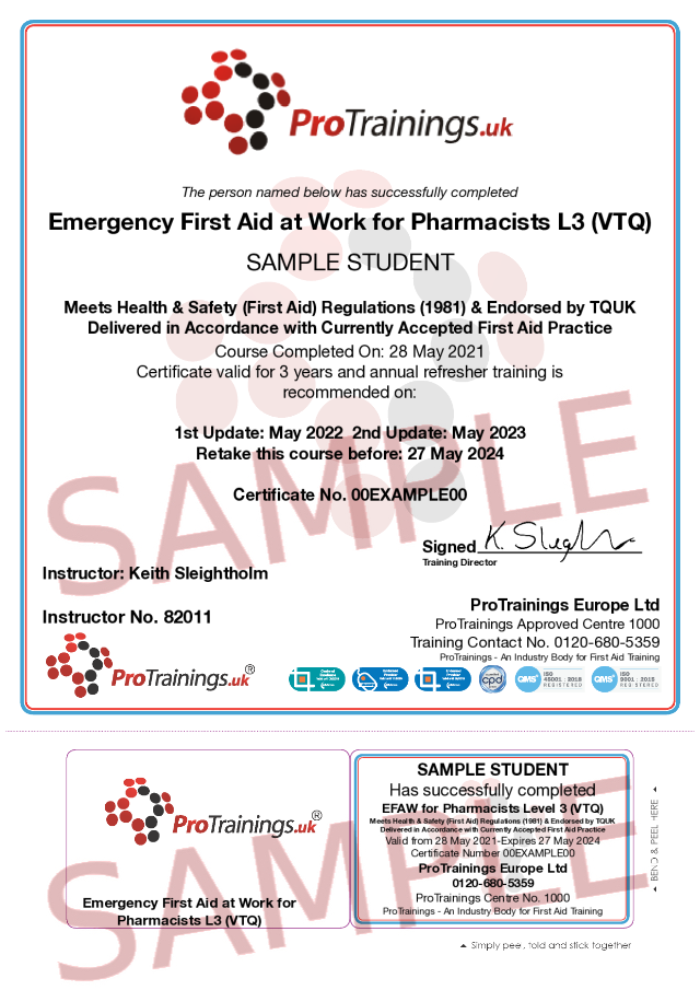 Sample Emergency First Aid at Work for Pharmacists Level 3 (VTQ) Classroom Certificate