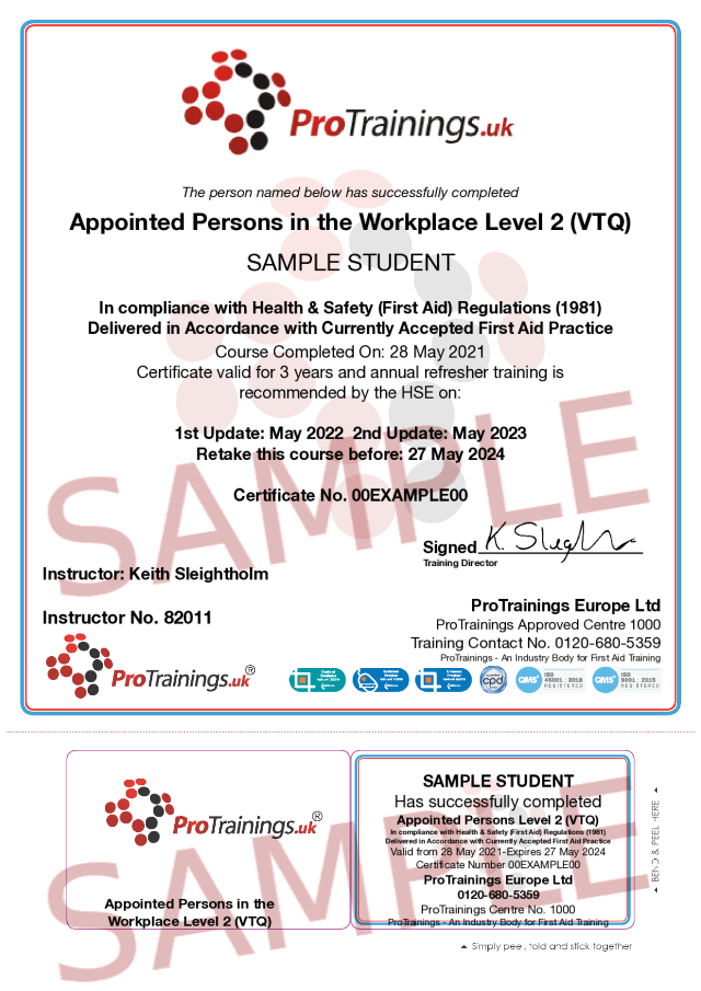 Sample Appointed Persons in the Workplace Level 2 (VTQ) - Blended part 2 Classroom Certificate