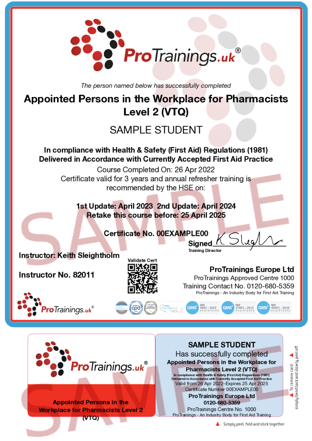 Sample Appointed Persons in the Workplace for Pharmacists Level 2 (VTQ) Classroom Certificate