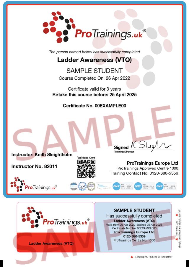 Sample Ladder Awareness (VTQ) Classroom Certificate