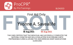 Sample First Aid Card Front
