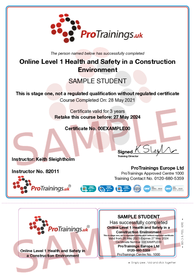 Sample ETA Awards – Online Level 1 Health and Safety in a Construction Environment (Leading to CSCS Green Card) Classroom Certificate