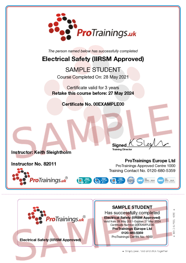 Sample Electrical Safety (IIRSM Approved) Classroom Certificate