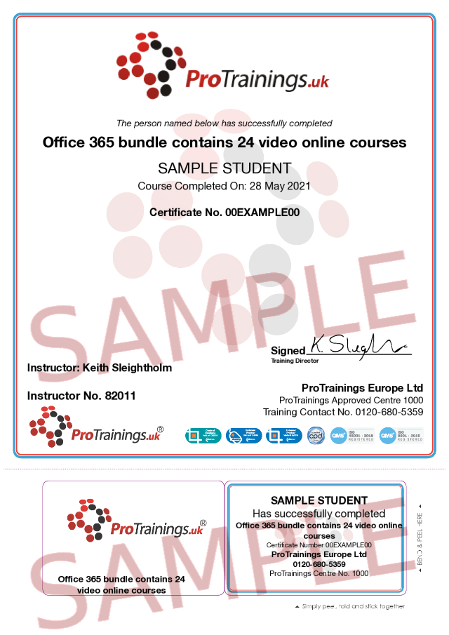 Sample Office 365 bundle contains 24 video online courses Classroom Certificate