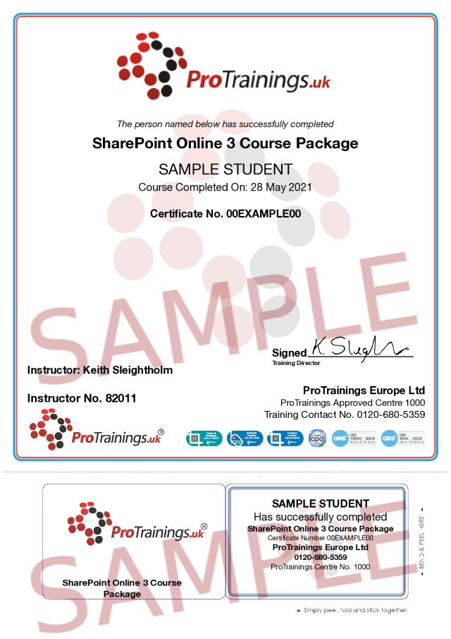 Sample SharePoint Online 3 Course Package Classroom Certificate