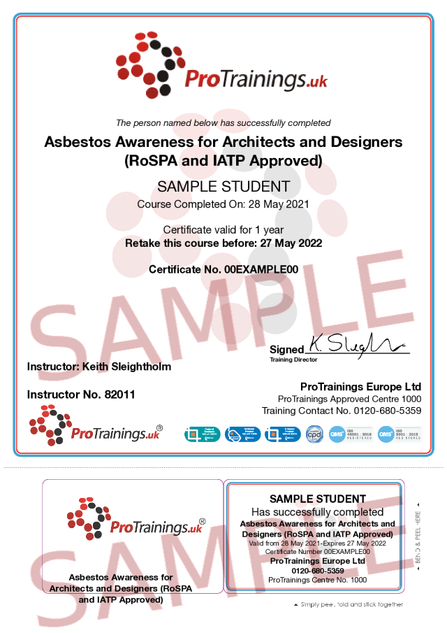 Sample Asbestos Awareness for Architects and Designers (RoSPA and IATP Approved) Classroom Certificate
