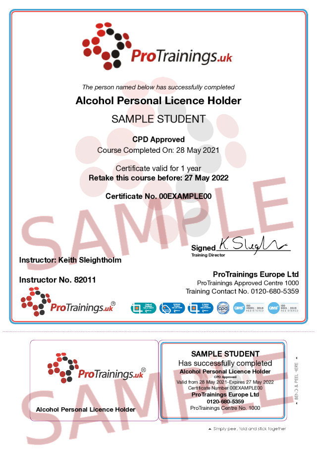 Sample Alcohol Personal Licence Holder (Approved by Laser Awards) Classroom Certificate