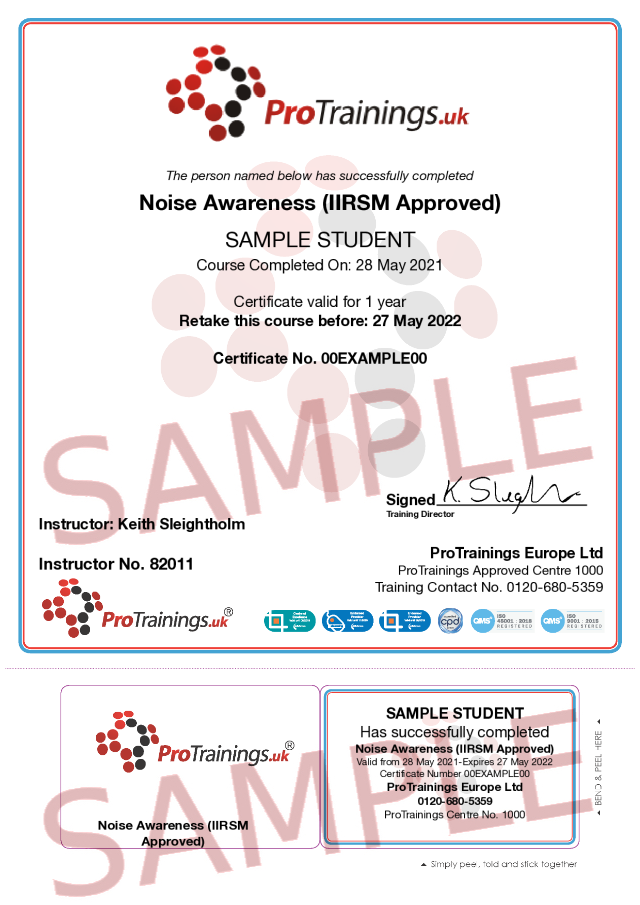 Sample Noise Awareness (IIRSM Approved) Classroom Certificate