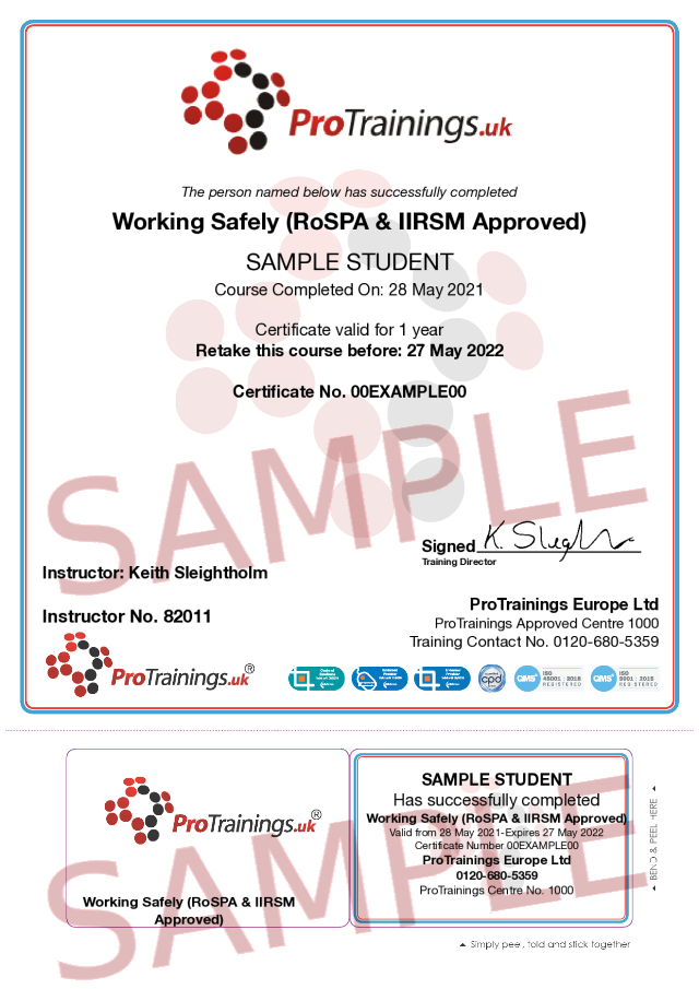 Sample Working Safely (RoSPA & IIRSM Approved) Classroom Certificate