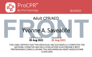 Sample Adult-Only CPR / AED Card Front