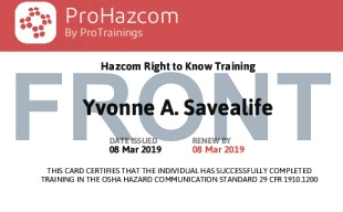 Sample Hazcom Card Front