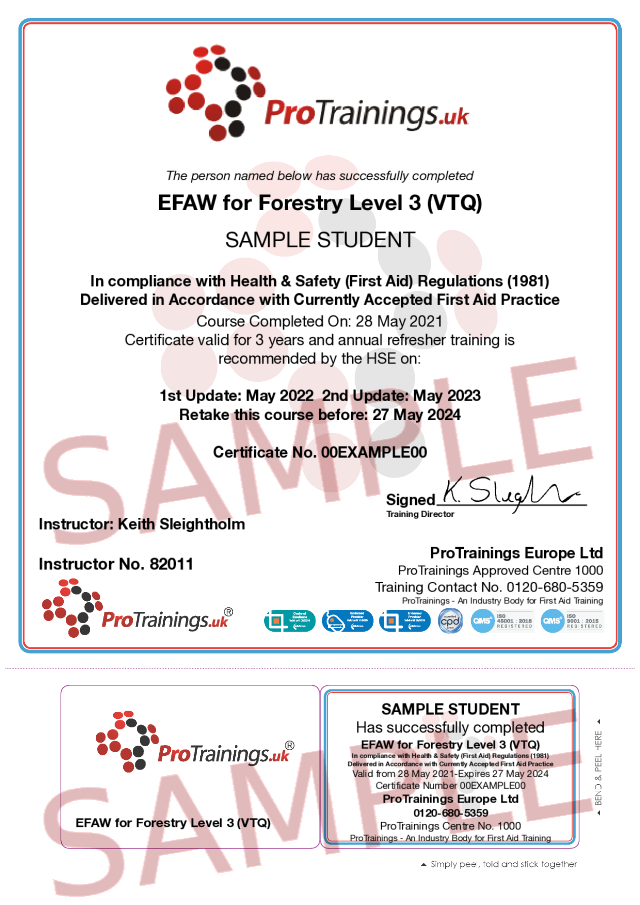 Sample EFAW-F for Forestry Level 3 (VTQ) Classroom Certificate