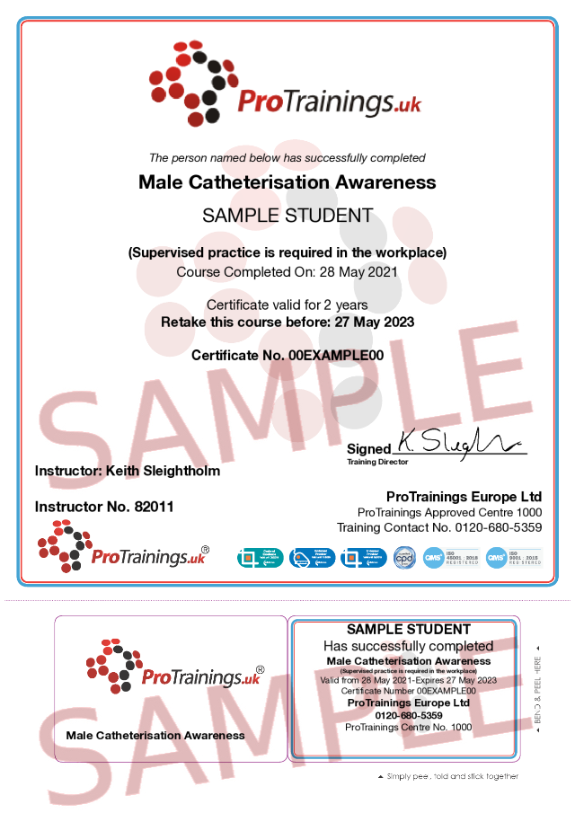 Sample Male Catheterisation Classroom Certificate