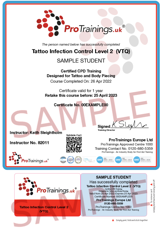 Sample Tattoo Infection Control Level 2  (VTQ) Classroom Certificate