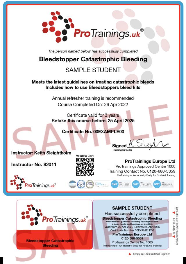 Sample Bleedstopper Catastrophic Bleeding Classroom Certificate