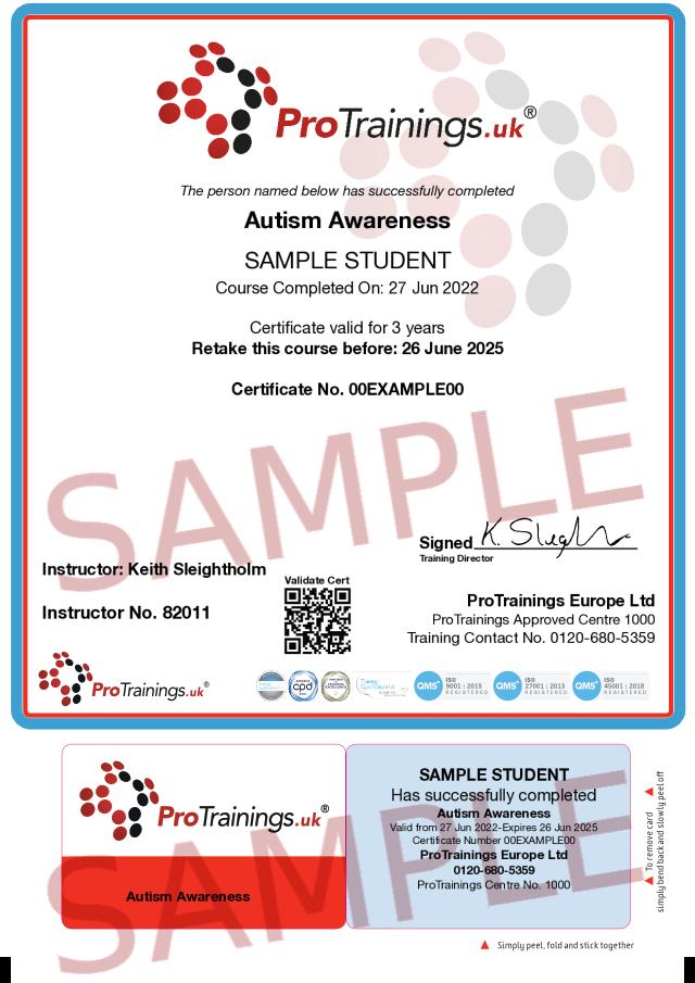 Sample Autism Awareness Classroom Certificate