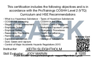 Sample Control of Substances Hazardous to Health - COSHH Level 2 (VTQ) Card Back