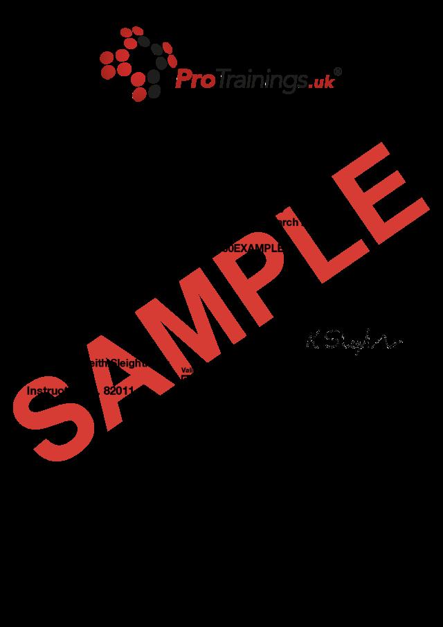 Sample Basic Legionella Management Classroom Certificate