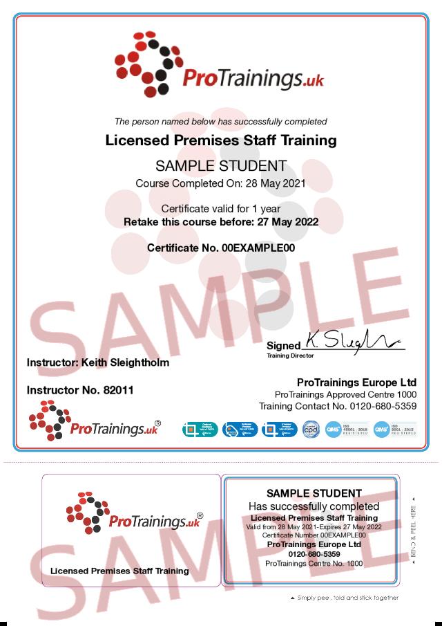 Sample Licensed Premises Staff Training Classroom Certificate