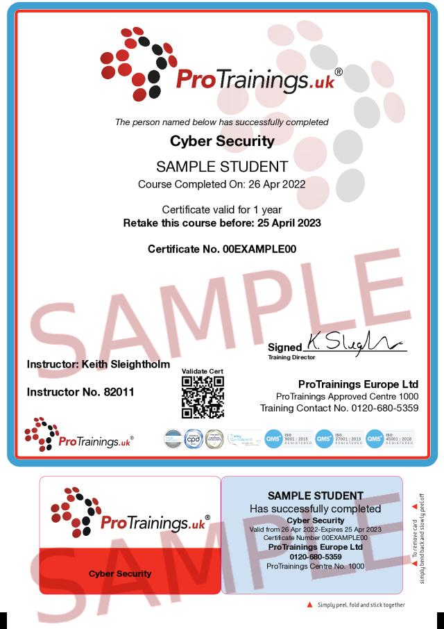 Sample Cyber Security Classroom Certificate