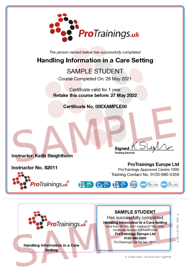 Sample Handling Information in a Care Setting Classroom Certificate