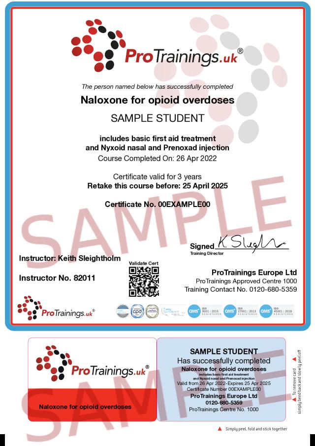 Sample Naloxone for opioid overdoses Classroom Certificate